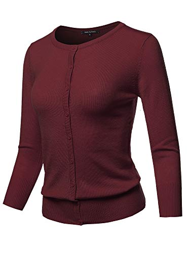 (Solid Crew Neck Button Down 3/4 Sleeves Knit Cardigan Burgundy 3XL)