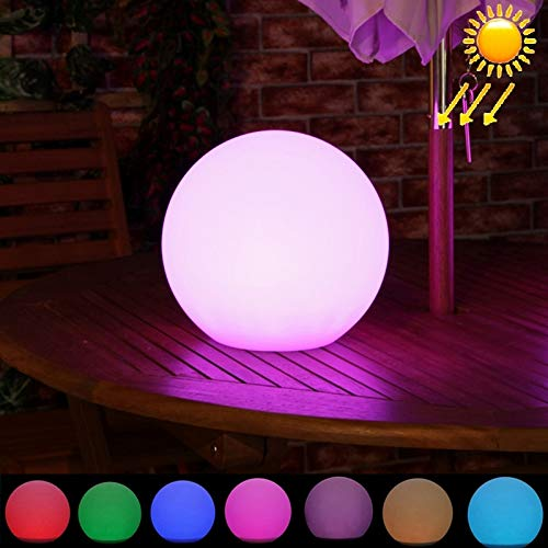 Nrthtri 30cm Round Ball Solar Power Floating Garden Changing Colorful LED Light Lamp with 0.8W Monocrystalline Silicon Solar Panel Induction Wall ()
