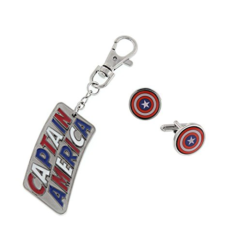 - Captain America Logo Cuff Links and Key Chain Boxed Set Officially Licensed by MARVEL + Comic Con Exclusive