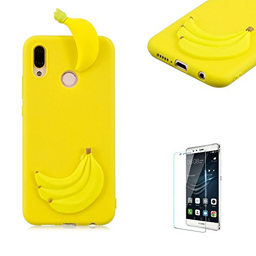 Price comparison product image Funyye Rubber Case for Huawei P20 Lite, Soft Shell Cover for Huawei P20 Lite, Creative 3D Cute Cartoon Banana Design Flexible Silicone Shock-proof Case for Huawei P20 Lite