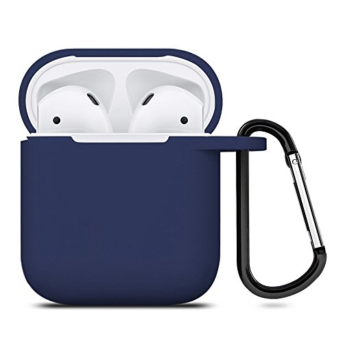 ZALU Compatible for AirPods Case with Keychain, Shockproof Protective Premium Silicone Cover Skin for AirPods Charging Case 2 & 1 [Front LED Not Visible](Midnight Blue)
