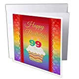"3dRose Cupcake with Number Candles, 99 Years Old Birthday - Greeting Card, 6"" x 6"", Single (gc_244850_5)"