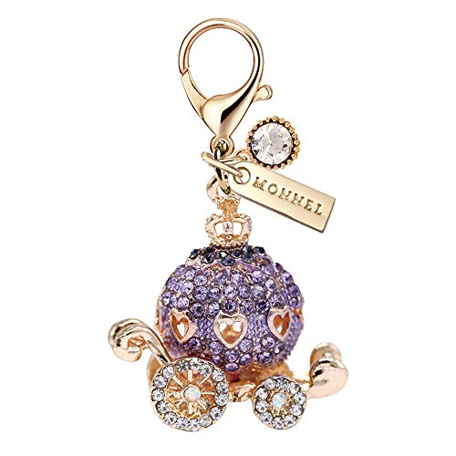 MC115 New Crystal Purple Princess Pumpkin Carriage Lobster Clasp Charm Pendant with Pouch Bag (1 Piece)