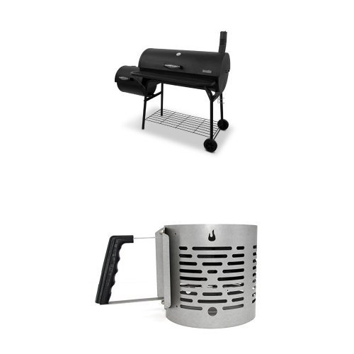 Char-Broil American Gourmet Offset Smoker, Deluxe + Charcoal Starter