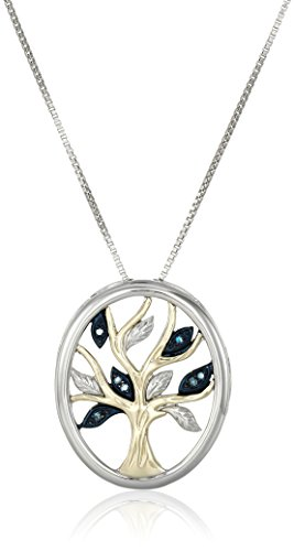(Sterling Silver and 14k Yellow Gold Blue Diamond Accent Family Tree  Pendant Necklace, 18