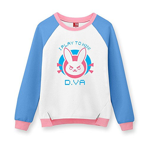 Lucky2Buy Women's OW D.VA Cute Bunny Cosplay Long Sleeve Hoodie Jumper Sweatshirt Blue & White, M (Best D Va Cosplay)