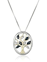 Sterling Silver and 14k Yellow Gold Diamond Tree of Life Pendant Necklace (.04 cttw), 18""