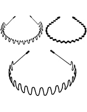 5Pcs Unisex Wavy Headband Metal Hair Band for Men Women Hair Hoop Clips, MH MOIHSING Elastic Non Slip Wide Hoop Headband Ordinary Headwear Bandeau Hair Accessories for Women and Men