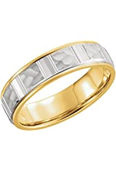 14k Two Tone Gold 6.0 mm Grooved Design Hammered Finish Comfort Fit Wedding Band