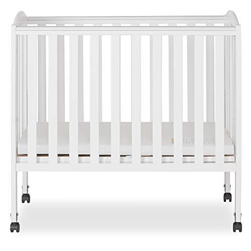 Dream On Me 2 in 1 Portable Folding Stationary Side Crib, White 1 Drop Side Convertible Crib