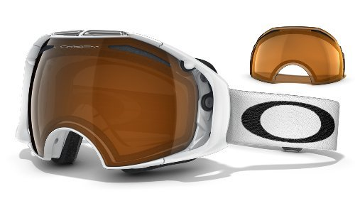Oakley Airbrake Adult Goggles 2012; (Polished White/Black - Polished White Iridium Black Oakley