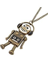 Womens Girls Retro Alloy Robot Music Headphone Necklace Jewelry