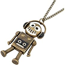 AnVei-Nao Womens Girls Retro Alloy Robot Music Headphone Necklace Jewelry