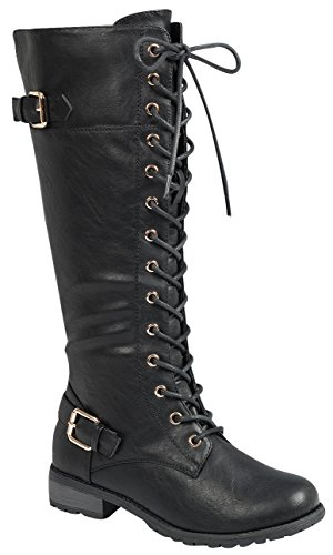 Forever Link Mango 27 Womens Knee High Buckle Riding Boots,Black,7.5 by Forever Link (Image #2)