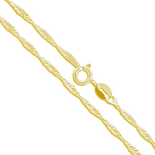 14k Yellow Gold Solid Singapore Rope Link Chain 1.1mm Necklace 16""
