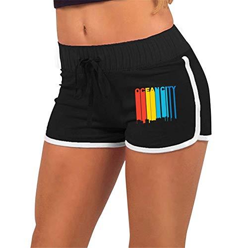 Yoga Shorts, Women Retro 1970's Style Ocean City Maryland Skyline Running Yoga Short Pants with Athletic Elastic Waist Black M