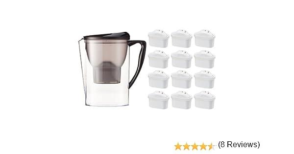AmazonBasics - Jarra con filtro de agua de 2,3 l y paquete de 12 ...