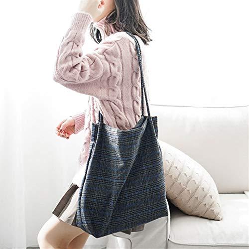 Mode Grande Carré Epaule Simple Chic Etudiante Fille Style Bandoulière À Femme Capacité Plaid Bleu Sac Main qS4xp1