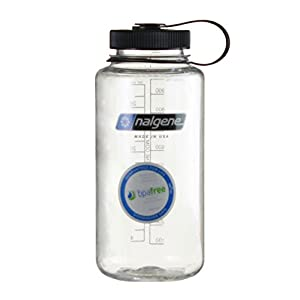 Nalgene Tritan Wide Mouth BPA Free Water Bottle, 1 Quart (Clear w/ Black Cap, 32 Ounces)