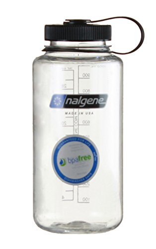 Nalgene Tritan Wide Mouth BPA Free Water Bottle, 1 Quart (Clear w/ Black Cap, 32 Ounces)