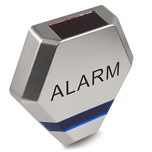 DC3200 Fake Alarm Siren System Dummy Solar Charged 3x LED Burglar Deterrent (Silver/Blue) by DC by DC