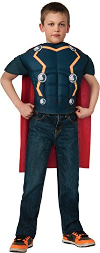 [Marvel Universe Avengers Assemble Thor Muscle-Chest Costume Shirt with Cape] (Loki Costume)