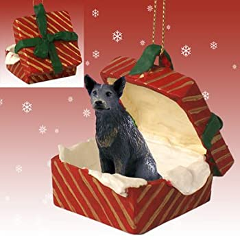 BLUE HEELER AUSTRALIAN CATTLE Dog sits in a RED Gift Box Christmas Ornament New RGBD87B by Eyedeal Figurines