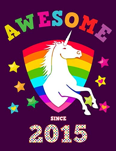 Awesome Since 2015: Unicorn Blank 4 x 4 Quadrille Squared Coordinate Grid Paper | Magical Purple Cover for Girls Born in '15 | Math & Science Exercise ... Students | Four squares per inch graph pages