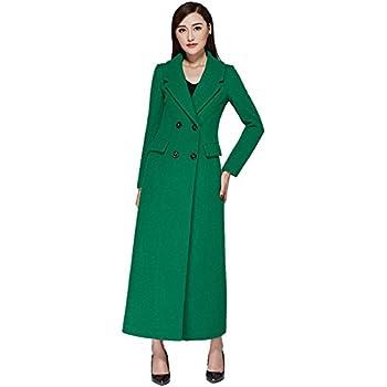a3f02e01bd Chickle Women's Solid Notch Lapel Double Breasted Walker Long Wool Coat M  Green