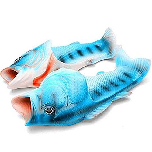 CREE Fish Animal Slippers Summer Beach Sandals Shower Slippers Non-Slip Beach Shoes Wear for Women Men and Kids Casual Shoe (11.5-12.5 Male US,Blue) -