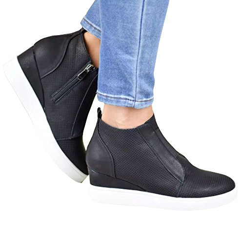 Remikstyt Womens Platform Wedge Sneakers High Top Slip On Mid Heel Booties Shoes