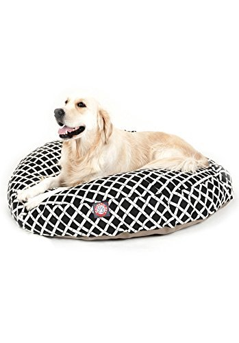 Black Bamboo Large Round Indoor Outdoor Pet Dog Bed With Removable Washable Cover By Majestic Pet Products by Majestic Pet by Majestic Pet