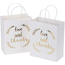 "LaRibbons Medium Size Gift Bags - Gold Foil""Love and Thanks"" White Paper Bags with Handles for Wedding, Birthday, Baby Shower, Party Favors - 12 Pack - 8"" x 4"" x 10"""