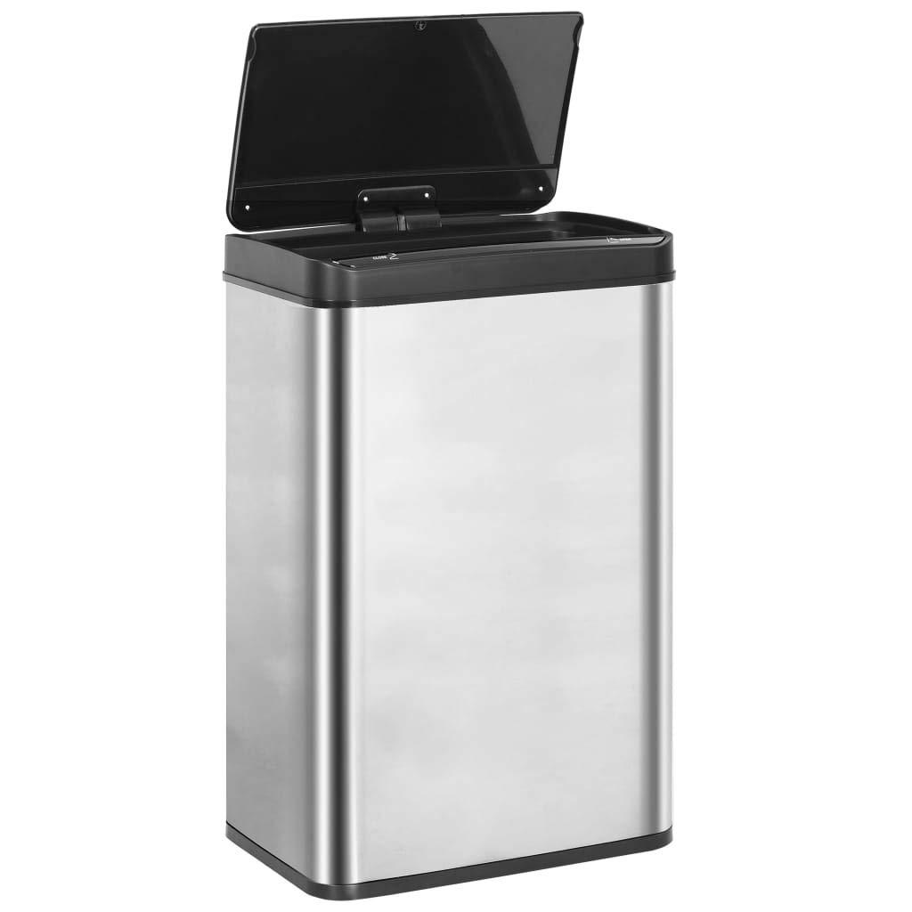 vidaXL Papelera Sensor Autom/ático Acero Inoxidable Residuos Basura Contenedores Cubos Accesorios Complementos Casa Hogar Deshechos 60 L Blanco y Negro