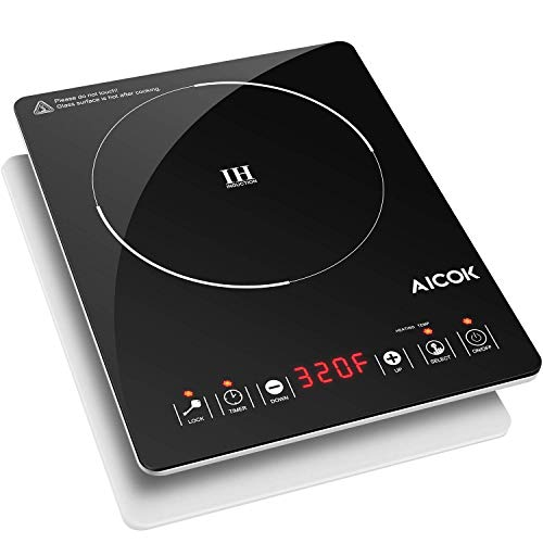 AICOK Portable Induction Cooktop Countertop Burner Electric Sensor Hot Plate with Timer and 15 Temperature Control, Easy to Clean Induction Cooker with Kids Safety Lock, Ultra-Thin Design, 1500W
