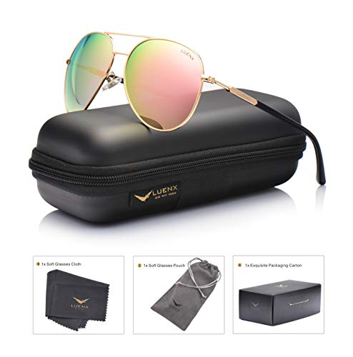 Womens Sunglasses Aviator Polarized Pink Mirror by LUENX - UV 400 Protection Gold Frame 60mm ()