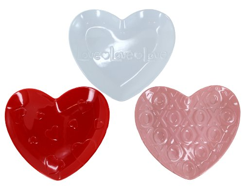 HOLIDAY MARK Melamine Love Heart Plate Set - 3-Piece ()