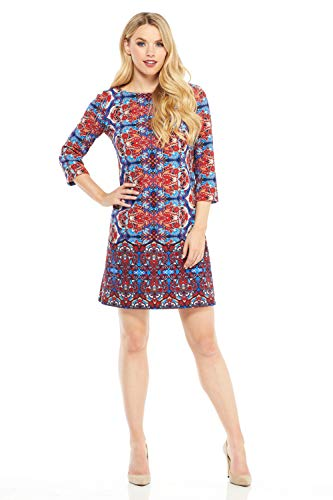 London Times Women's 3/4 Sleeve Scuba Crepe Shift Dress, Blue/red, 10 -