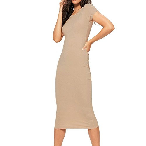 Swirl Lace Mini Dress - HIRIRI Women Solid Color Slim Long Dresses Short Sleeve O-Neck Ladies Sheath Hobble Pencil Skirt Beige