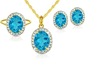 Vera Perla 18K Gold Oval Swiss Blue Topaz 0.48Ct Diamonds Jewelry Set