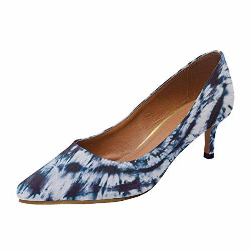 Scarpe Da Donna Low Cost Con Tallone Gattino A Punta Svasata Scarpe Blu Acquerello Ad Alta Risoluzione Multi 1