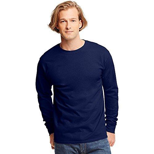 (Hanes TAGLESS  Long-Sleeve T-Shirt,Deep Navy,Large)