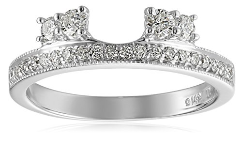 14k White Gold Round Diamond Solitaire Engagement Ring Enhancer (1/2 carat, H-I Color, I1-I2 Clarity), Size -