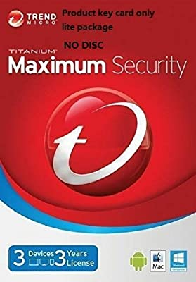 Trend Micro Maximum Security 2019 (Version 15) 3 Devices 3 Years for PC, Mac, Android & IOS | Product Key card Win7, 8.1 &10