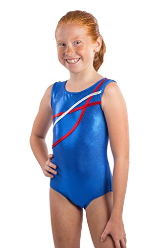 Kids Olympic Blue Apparel (Lizatards Gymnastics Leotard Ribbons USA Girls M)