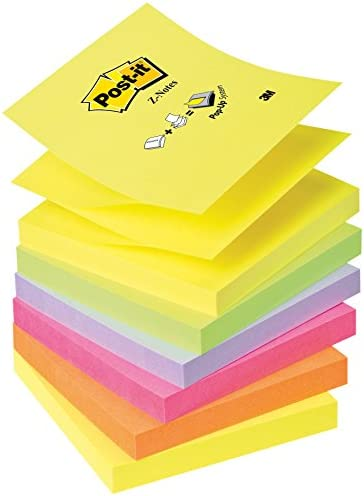 Post-It R330NR Z-Notes(76 x 76 mm) 6er Pack neongelb/grün/lila/pink/orange
