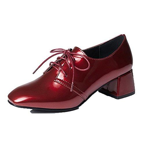 Donna Medio Pelle Flats Tacco Punta Rosso di VogueZone009 Quedrata Ballet Maiale Puro ExwdASf1qf