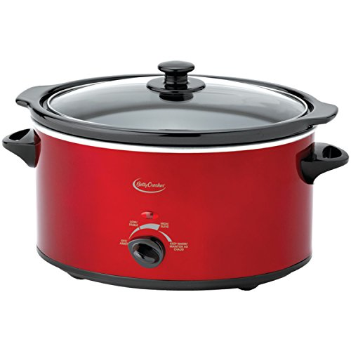 Betty Crocker BC-1544C Oval Slow Cooker with Travel Bag, Metallic Red