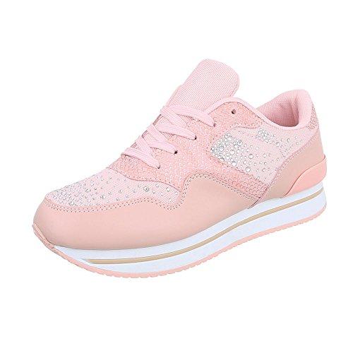 Ital-Design Sneakers Low Damenschuhe Schnürsenkel Freizeitschuhe Rosa