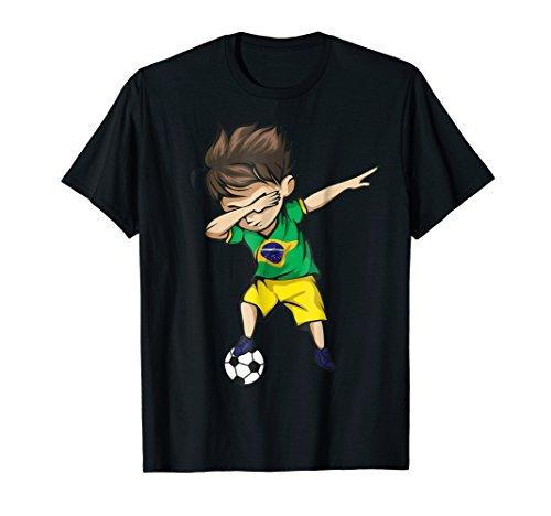 Dabbing Soccer Boy Brazil Jersey Shirt - Brazilian Football